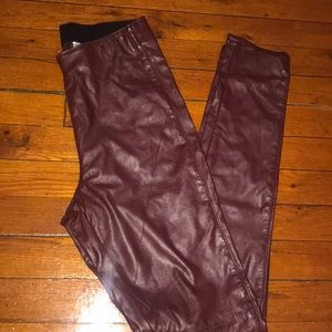 Burgundy faux leather pants from HM